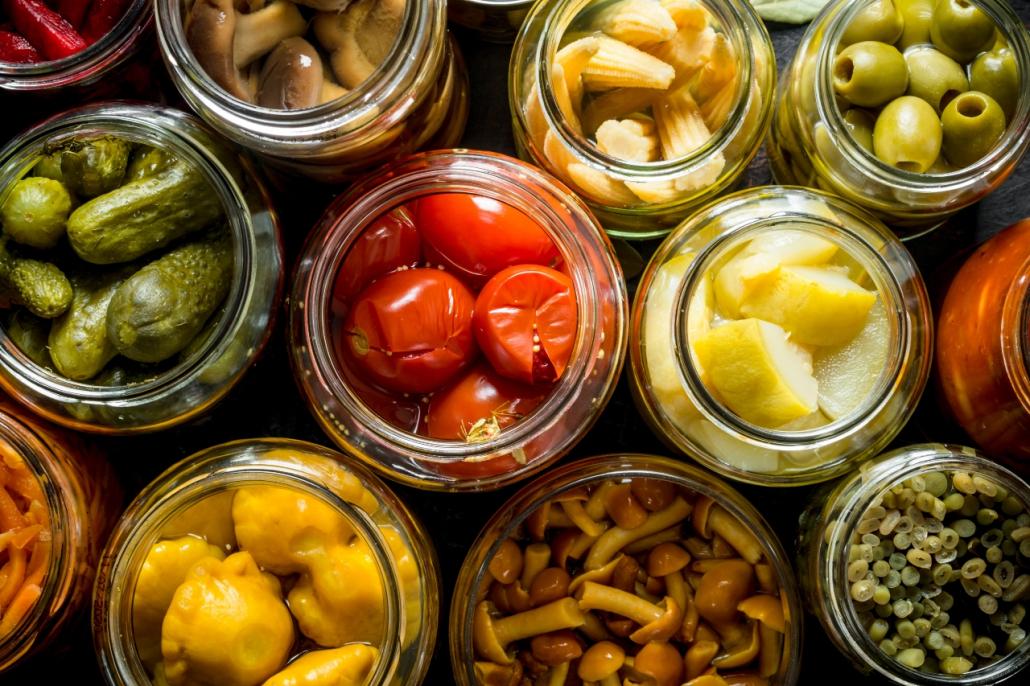 Conservas de setas y verduras
